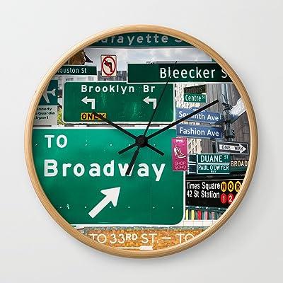 Society6 New York City Streets Wall Clock Natural Frame, Black Hands