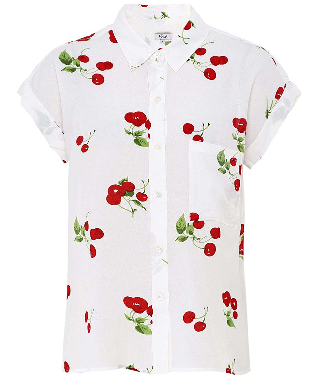 Rails Women's Whitney Cherry Bloom Print Shirt White