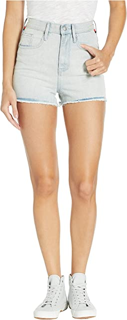 Denim Shorts with Stripe Embroidery