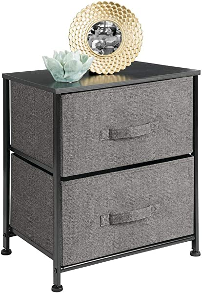 MDesign Vertical Dresser Storage Tower Sturdy Steel Frame Wood Top Easy Pull Fabric Bins Organizer Unit For Bedroom Hallway Entryway Closets Textured Print 2 Drawers Charcoal Gray Black