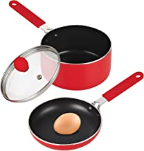 """Cook N Home Nonstick 5.5"""" Mini Size One Egg Fry Pan and Sauce Pan 1-QT with Lid Set, Red"""
