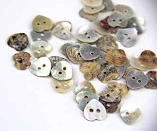 RayLineDo Pack of 12mm 2 Holes Heart Shaped Mother of Pearl Delicate Natural Shell Buttons Sewing Crafting Scrapbooking Buttons Approx 50pcs