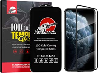 Kaiju Glass Screen Protector Tempered Glass 3D Curved Edge Cold Carving for iPhone 11 Pro Max Screen Protector/iPhone Xs Max Screen Protector - 1 Pack 9H Hardness [Anti-Scratch] Black