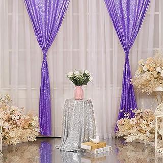 SquarePie Pailletten Vorhang 71 x 2244 cm, Lavendel, 2 Stück Hintergrund für Hochzeit, Patry, Weihnachtsdekoration