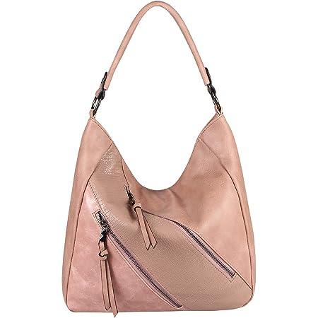 OBC Damen Tasche Shopper Tote Bag Handtasche Umhängetasche Schultertasche Beuteltasche Leder Optik Hobo Crossbody (Altrosa 36x32x14 cm)