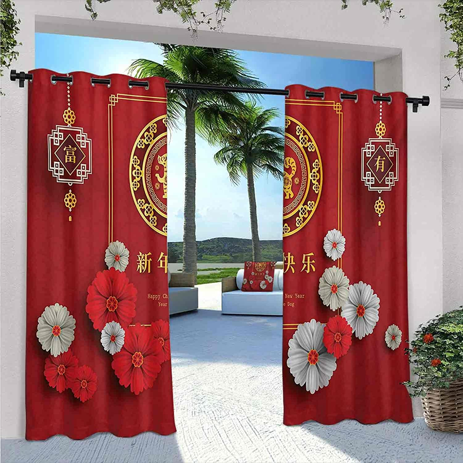 Year of The New item Max 63% OFF Dog Outdoor Patio Ch with New Pattern Curtains
