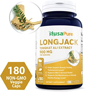 Longjack Tongkat Ali 900mg 180 Veggie Caps (Non-GMO & Gluten Free) - Natural Testosterone Booster, Increase Physical Endurance