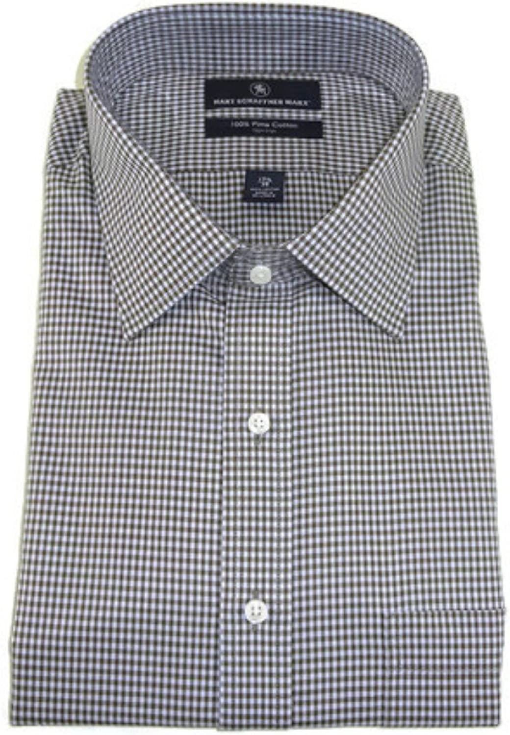 Hart Schaffner Marx Non-Iron Fitted Classic-Fit Spread-Collar Check Dress Shirt, Brown Multi