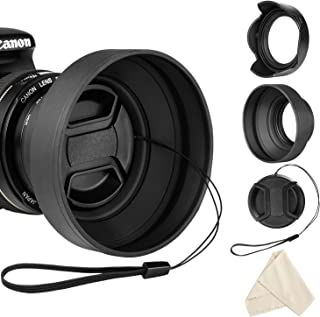 Veatree 49mm Lens Hood Set, Collapsible Rubber Lens Hood with Filter Thread + Reversible Tulip Flower Lens Hood + Center Pinch Lens Cap + Microfiber Lens Cleaning Cloth