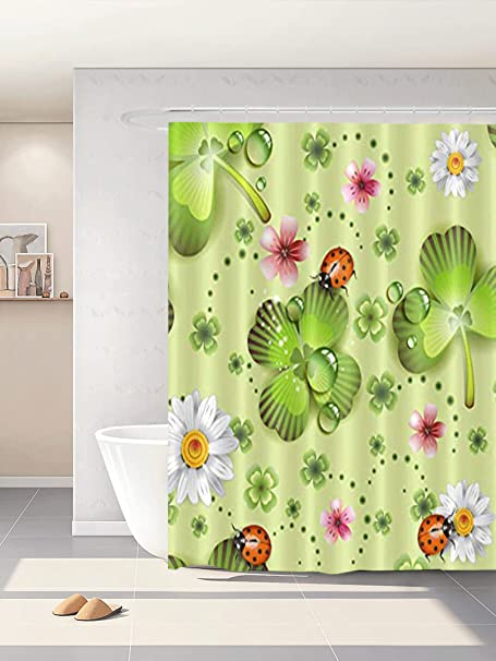 Amazon Com Abaysto Green Clover And Flowers Ladybug St Patrick S Day Polyester Fabric Shower Curtain Sets With Hooks Waterproof Bathroom Decor Kitchen Dining
