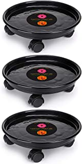 Murilan Indoor Outdoor Planter Trolley Casters Round Flower Pot Rack on Rollers Dolly Holder on Wheels Plant Heavy Duty, Black of 3 Pallet Caddy