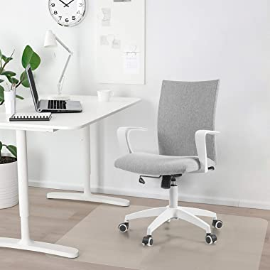 NOVELLAND Office Desk Chair with Adjustable Height - White Mordern Arms Chair - Swivel Computer Home Task Chairs Grey