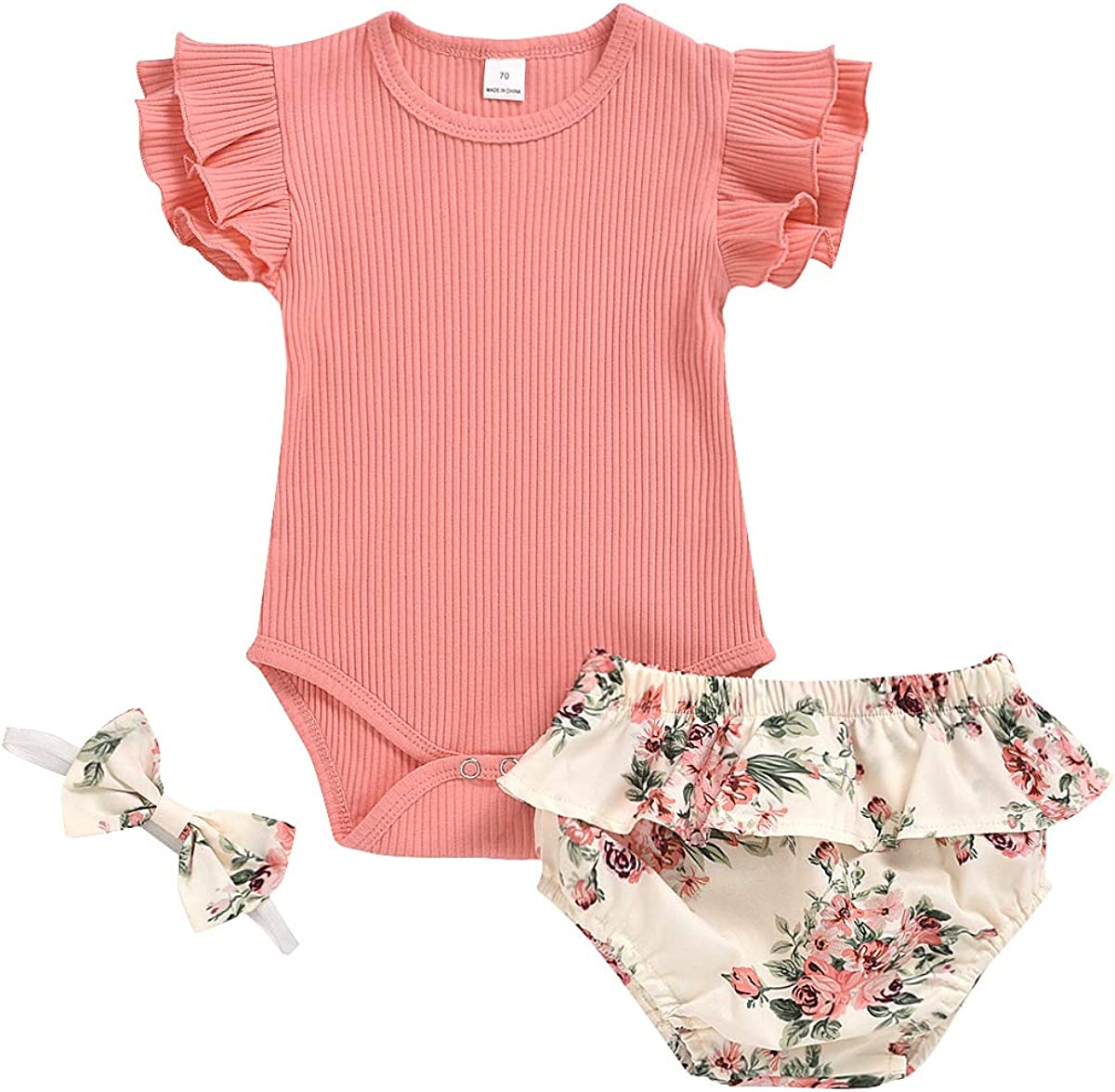 Newborn Baby Girl Summer Popular Outlet sale feature Clothes Ruffle Solid Sleeveless Romper+
