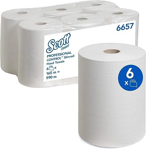 Scott 6657 Essuie-mains roulés Slimroll, 6 rouleaux de 165 m, Feuilles en papier 1 pli, Technologie absorbante Airfle...