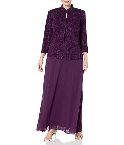 Alex Evenings Plus Size Long Dress With Mandarin Neckline Jacket