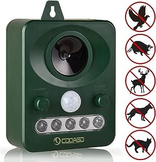 CooAgo 猫よけ アニマルバリア 動物撃退器 超音波ソーラー式 IP44防水防塵 超音波とLED強力フラッシュライト 庭園を保護 CAGRPCS04 ( 1個セット、1年間保証 )
