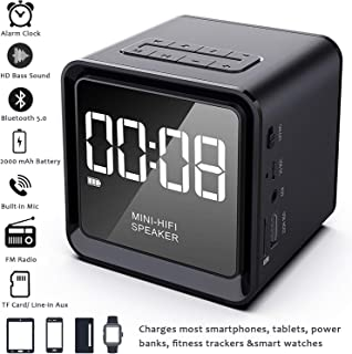2019 UPGRADE Digital Alarm Clock Radio with Wireless Bluetooth Speaker for Bedrooms/Office, Micro SD, Built-in Mic, 33ft Range, 4-8 Hrs/2000 mA Battery, USB Flash Driver & Aux,Charging Station (Black)