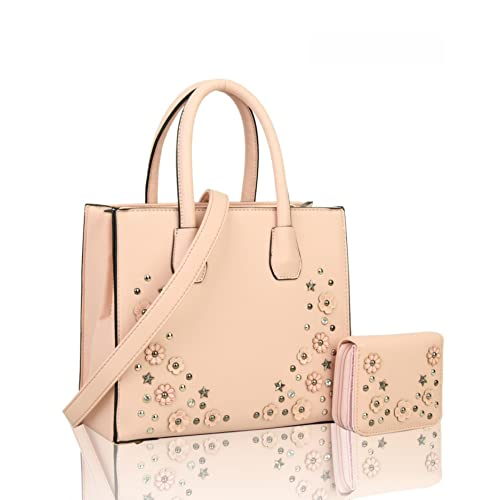 e44f9f7f6c2 LeahWard Women's Flower Stud & Diamante Two In One Handbag With Matching  Purse Tote Bag 076