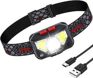Gritin LED Hoofd Zaklamp, USB Oplaadbare LED Koplamp met 8 Modes 500 Lumen, Super Helder, Waterdicht en Lichtgewicht Kopla...