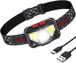 Gritin Lampe Frontale, Torche Frontale LED USB Rechargeable Puissante, Super Lumineux 500 LM, 8 Modes d'éclairage, Détecteur de Mouvement, Étanche et Léger pour Pêche, Camping, Lecture, Randonnée