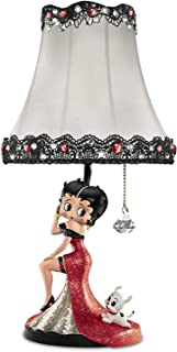 The Bradford Exchange Betty Boop Delightfully Dolled Up Accent Lamp with Glass Mosaic and Fabric Shade