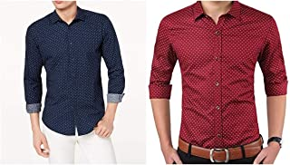 ZAKOD Polka Print Cotton Shirts for Men for Formal Wear,100% Cotton Shirts,Available Sizes M=38,L=40,XL=42(Pack of 2)