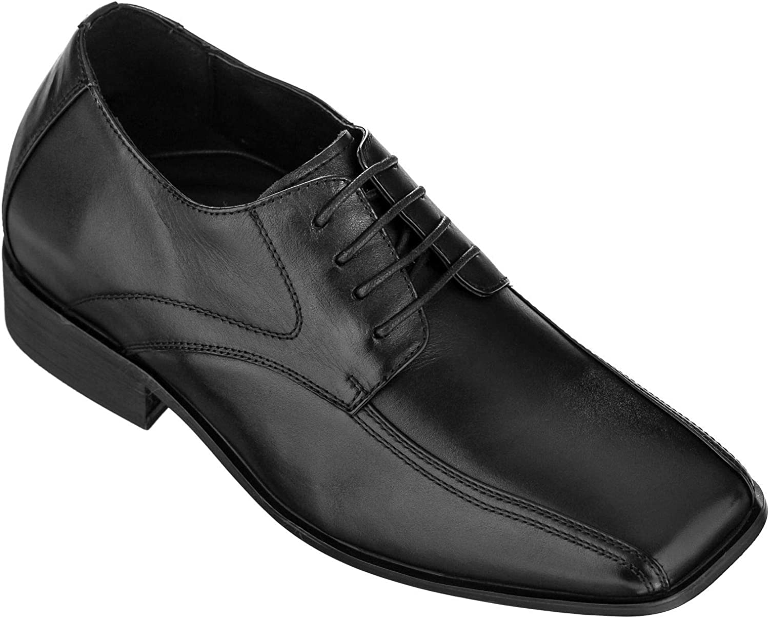 CALDEN K0286-2.8 Inches Taller - Height Increasing shoes for Men (Black Lace-up Bicycle Square Toe)