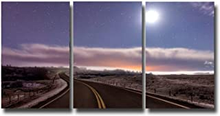 3 Panels HD Giclee Canvas Prints Night Wall Art on Canvas Purple Yellow Starry Highway Oil Painting Modern Artwork for Living Room