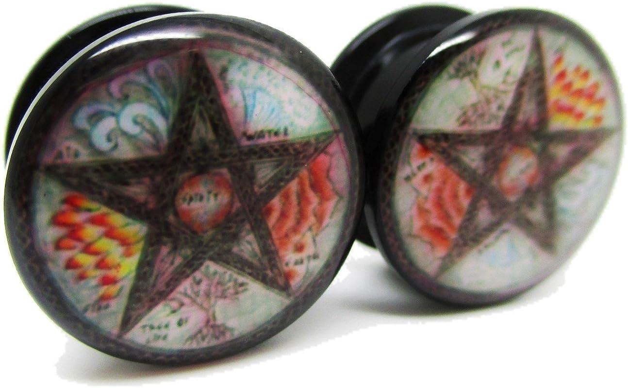 Pierced Republic Elemental Pentagram Ear Plugs - Acrylic Screw-On - 8 Sizes -Brand NewPair