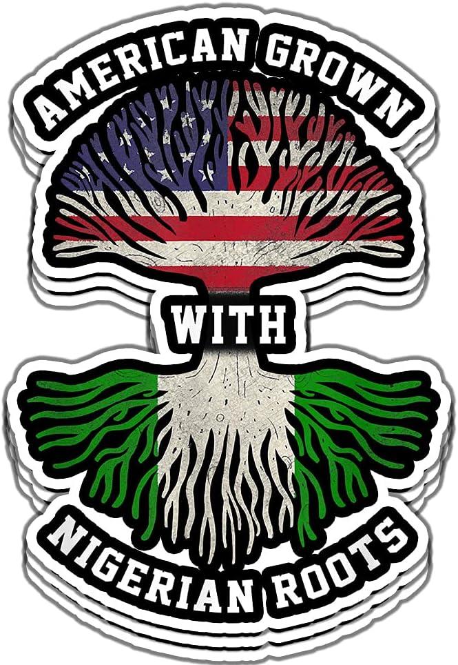 Nigerian Roots American Grown - Nigeria Gift Vinyl Stickers, Laptop Decal, Water Bottle Sticker (Set of 3)