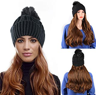 Beanie Hat With Hair Curly Long Wavy Synthetic Hair Wig with Winter Knit Beanie Hat for Women Real Fur Pom Pom Hat