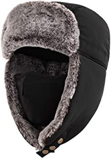 Unigear 飛行帽 防寒帽子 パイロットキャップ 防風防寒 肌触り良い 調節可能 ロシア帽子 マスク 耳あて付き スキー アウトドア 登山 男女兼用 54〜60cm