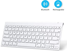 Bluetooth Keyboard for iPad, OMOTON Rechargeable Stainless Steel Wireless Keyboard for iPad 7th Generation 10.2, iPad Pro 12.9/11, iPad Air 3 10.5, iPad 9.7, iPad Mini and iPhone, White