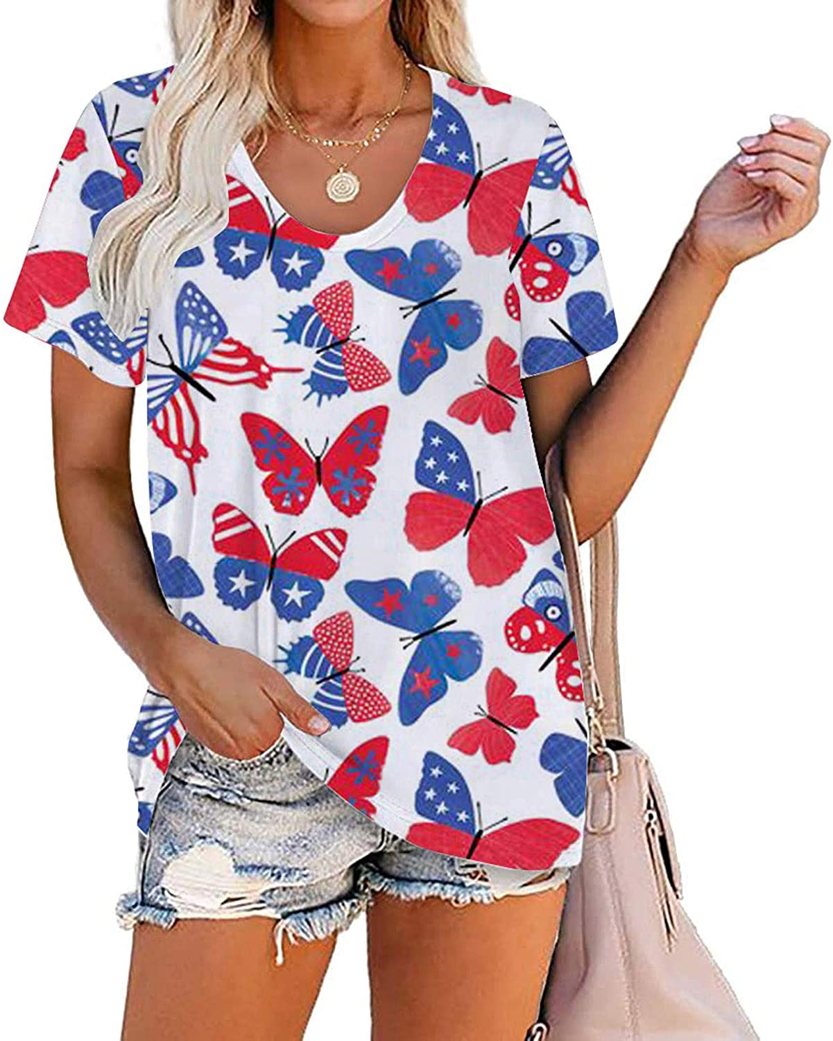 Shirts for Women, Womens V Neck T Shirts Roll up Sleeve Tshirts Gradiant Color Loose Fit Summer Casual Side Split Tops