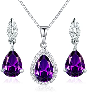 JIANGXIN Waterdrop Birthstone 925 Sterling Silver White Gold Plated Fine Jewelry Set for Women Pendant Necklace Stud Earring