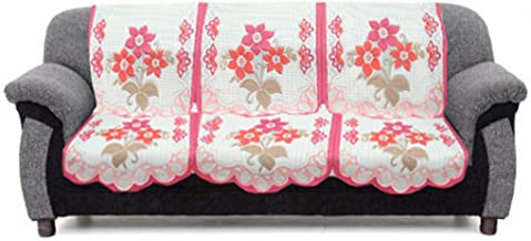 Kuber Industries™ 6 Pieces White & Pink Flower Sofa and Chair Cover Set for 5 Seater (Code-SFL05)