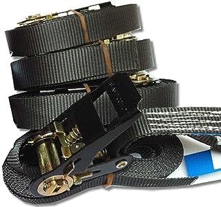 4-delige set onbekend. Sjorbanden spanbanden ratelriem kleur en lengte 4-6 meter naar keuze 800 kg EN12195-2 5 meter zwart