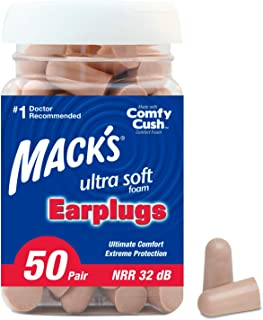 Mack`s Ultra Soft Foam Earplugs, 50 Pair - 32dB Highest NRR, Comfortable Ear Plugs for Sleeping, Snoring, Travel, Concerts, Studying, Loud Noise, Work