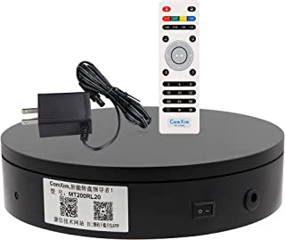 ComXim 360 Degree Black Electric Turntable,Direction, Angle and Rotation Mode,7.87in Diameter,44lb Capacity,Product Photography, Product,Cake and Jewelry Display,