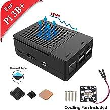 GeeekPi Funda para Raspberry Pi 3 Modelo B+ (B Plus), con Ventilador de refrigeración y disipadores térmicos 3PCS para Raspberry Pi 3/2 Modelo B (no Incluye Placa Raspberry Pi)(Negro)