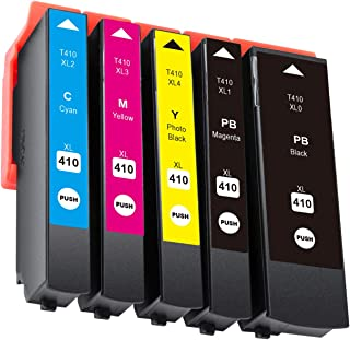 Hehua Compatible Epson 410 410XL Ink Cartridge High Yield Replacement for Epson Expression Premium XP-530 XP-630 XP-635 XP-640 XP-830 Printers (Photo Black, Black, Cyan, Magenta, Yellow)