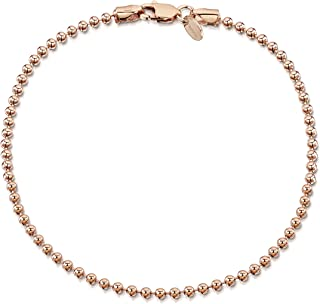 Amberta 14K Rose Gold Plated on 925 Sterling Silver 2 mm Ball Chain Bracelet 7