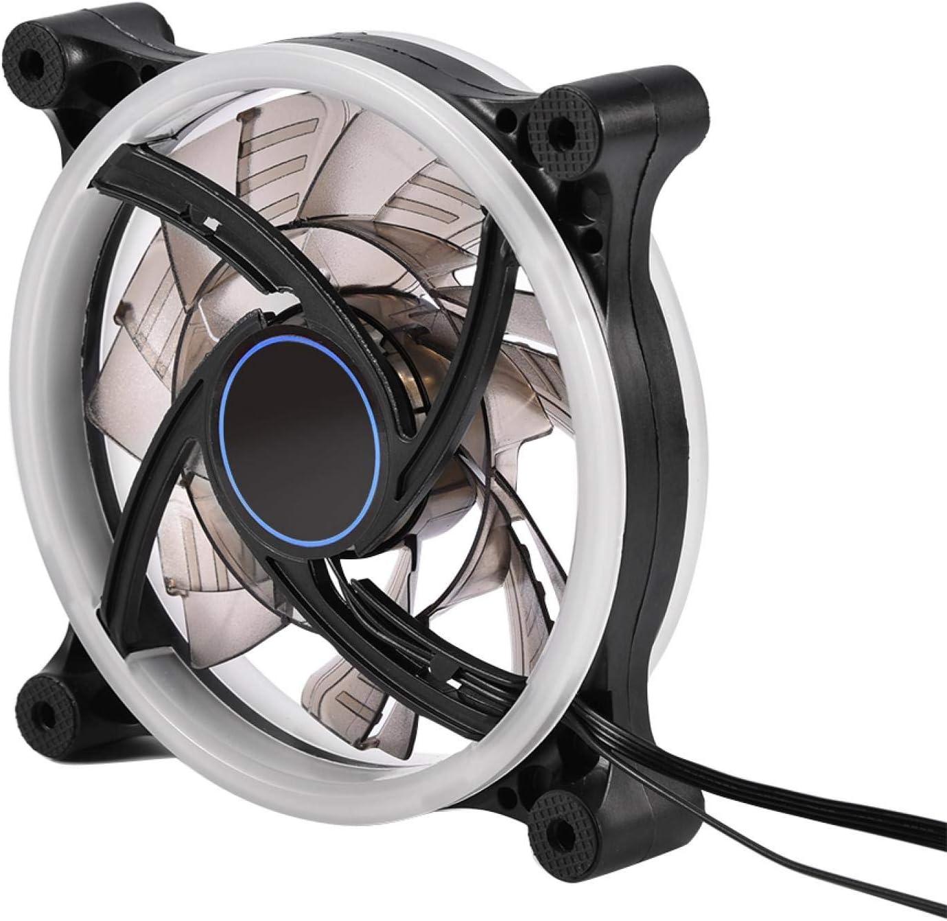 dgtrhted 120mm 7-Blade RGB LED Luz Ajustable Computadora PC Estuche Ventiladores de enfriamiento Alto Flujo de Aire Refrigerador silencioso
