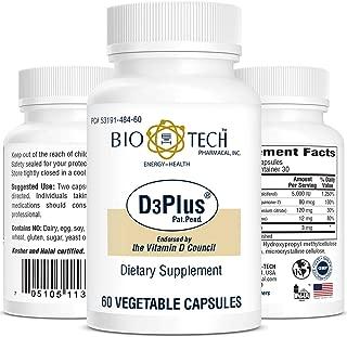 D3 Plus Vitamin D3+ Dietary Supplement for Optimal Bone Cardiovascular neuromuscular Immune Health osteoporosis - 60 Vegetable Capsules