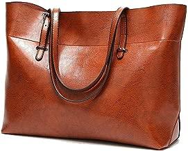 Aizbo Soft Leather Handbag for Womens, Large Commute Top Handle Tote Shoulder Bag Zipper Women's Work Satchel Bag