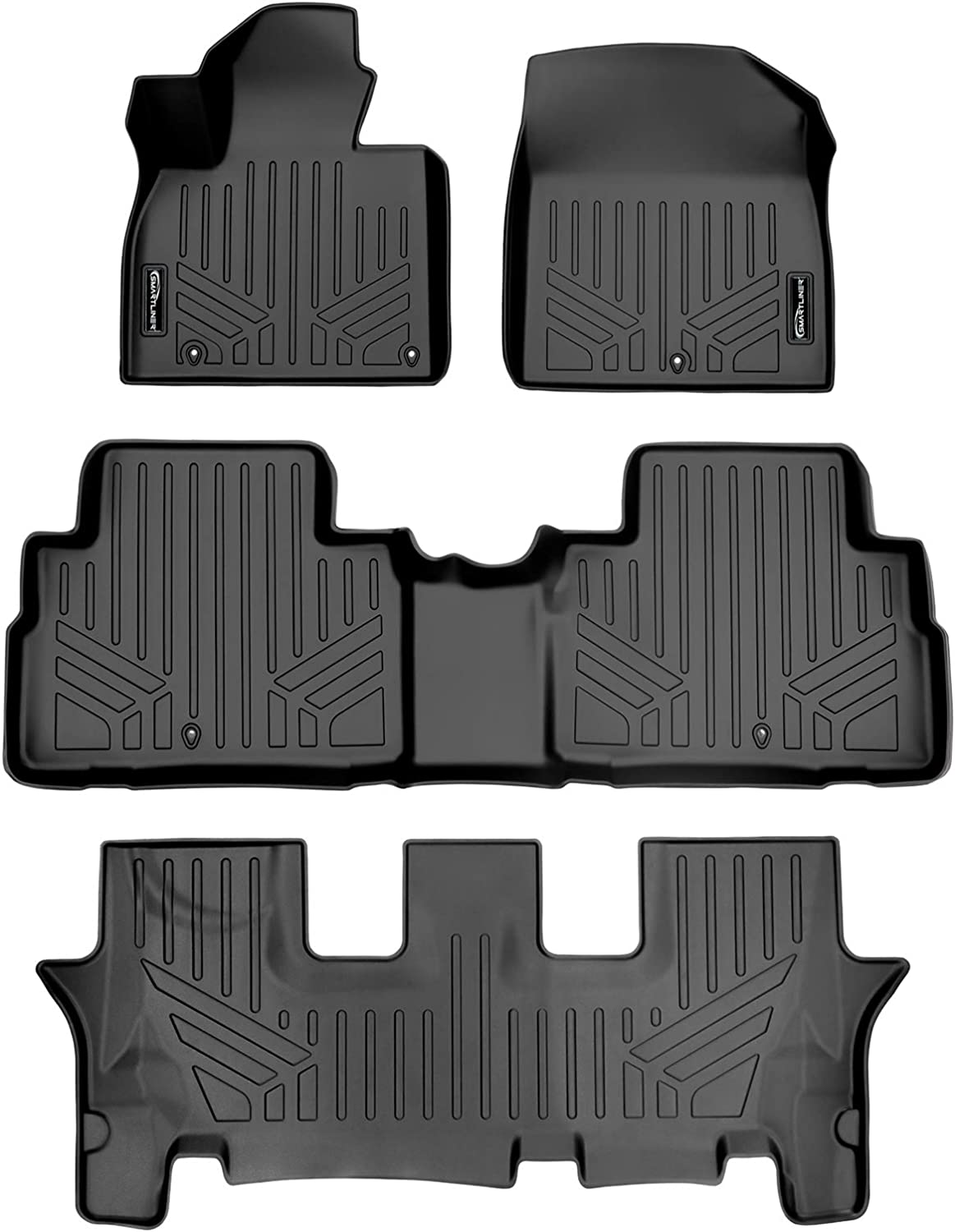 SMARTLINER All Weather Custom Ranking TOP11 Fit Black 3 Se Floor Row Safety and trust Mat Liner