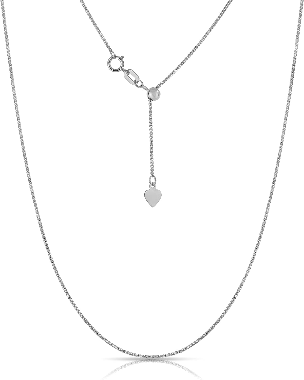Floreo 10K Fine Gold Adjustable Wheat Chain Necklace, 24 Inch
