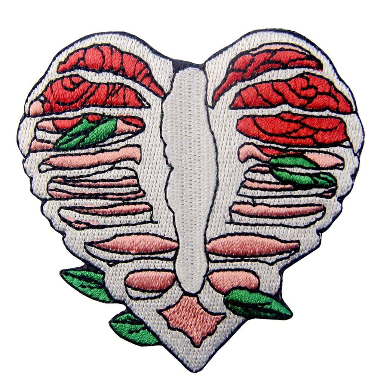 Anatomy Heart Shape Skeleton with Leaves Applique Embroidered Badge Iron On Sew On Patch