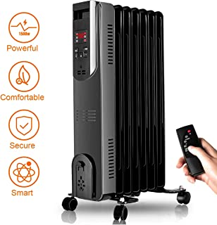 Radiator Heater - 1500W Oil Heater with Remote, 250 Sq Ft Coverage, Electric Space Heater with Adjustable Thermostat, Oil Filled Radiator Heater, Safety Protect, Portable Room Heater for Office Indoor