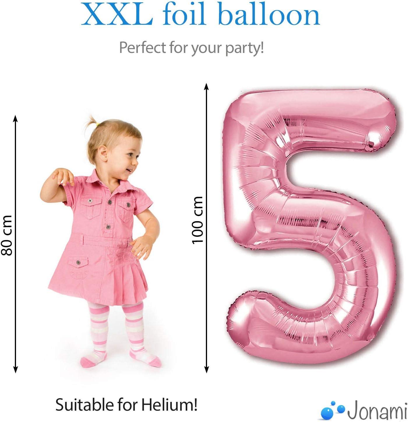 Fliegt mit Helium. Luftballon 2 Geburtstag Zahl 2 Rosa XXL Riesen Folienballon 100cm Geburtstagsdeko M/ädchen Ballon Zahl Deko zum Geburtstag